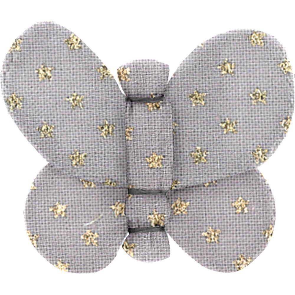Barrette petit papillon etoile or gris