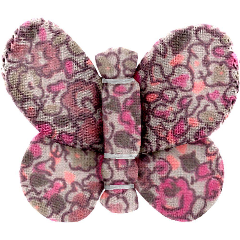 Barrette petit papillon lichen prune rose
