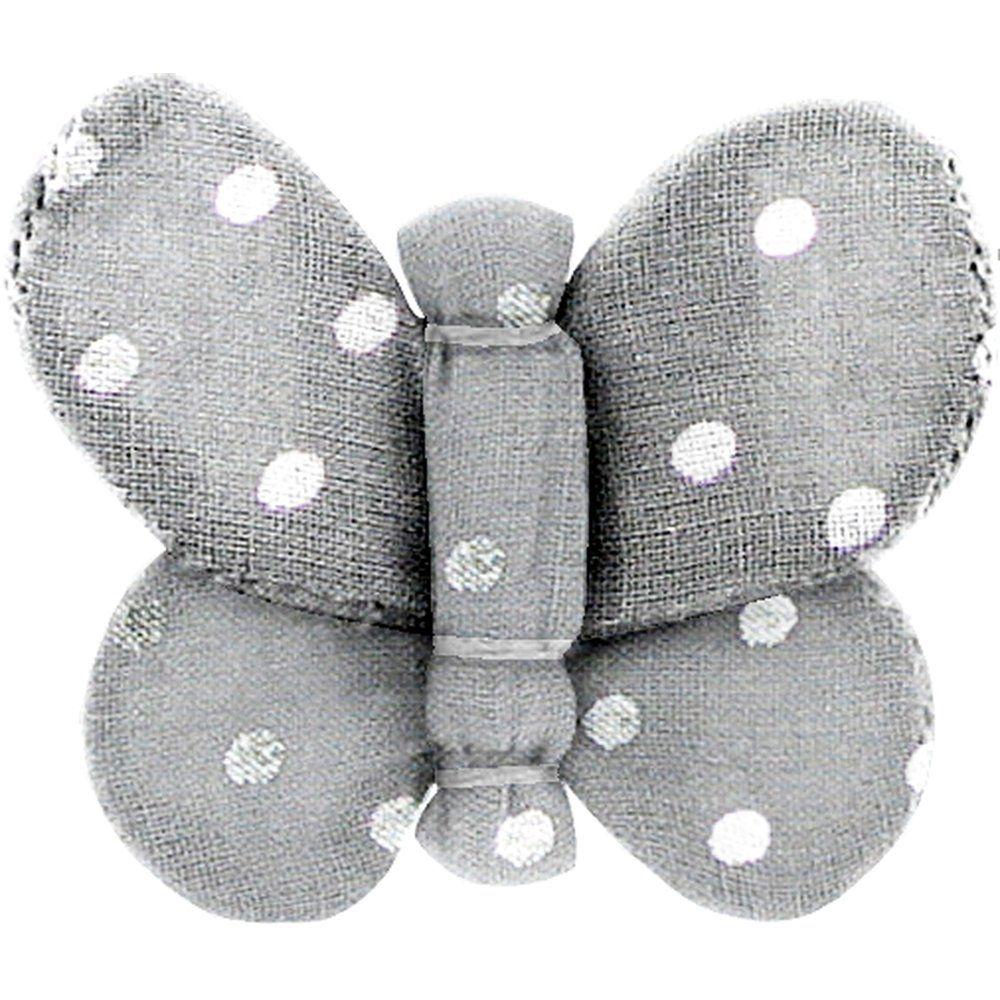 Barrette petit papillon  pois argent gris