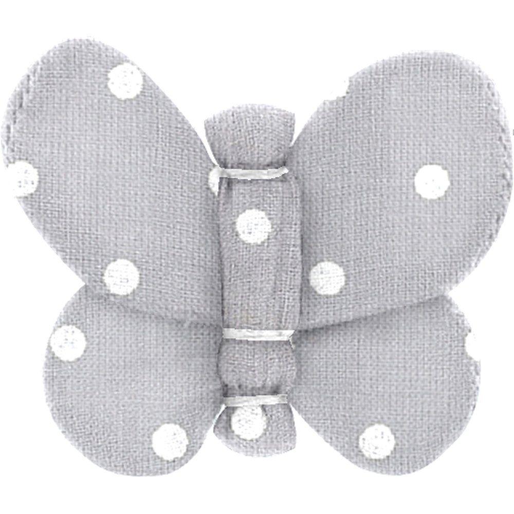 Barrette petit papillon pois gris clair