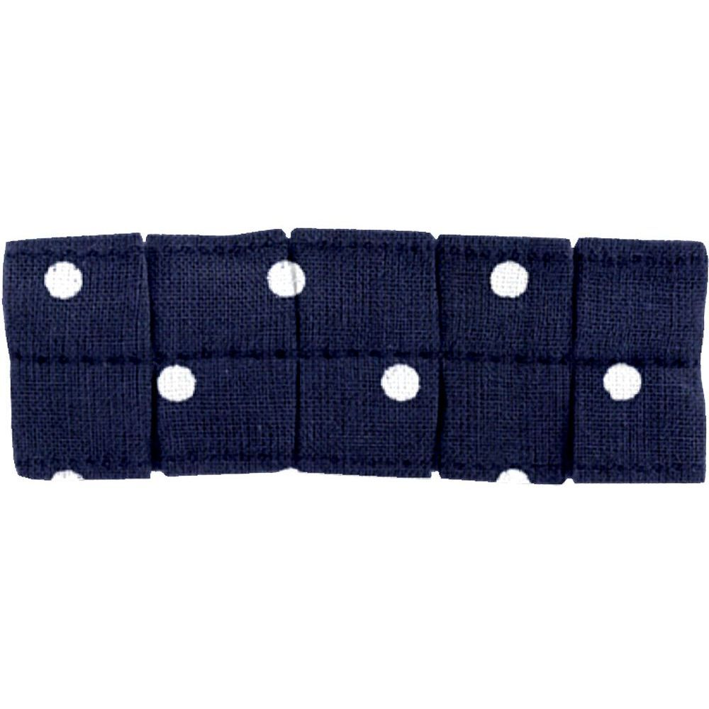 Small pleated hair slide navy blue spots