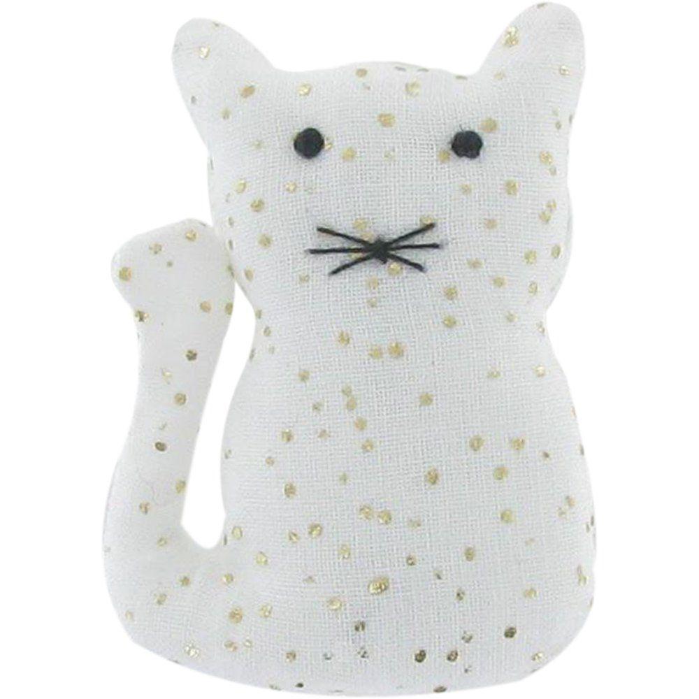 Small cat hair slide white sequined