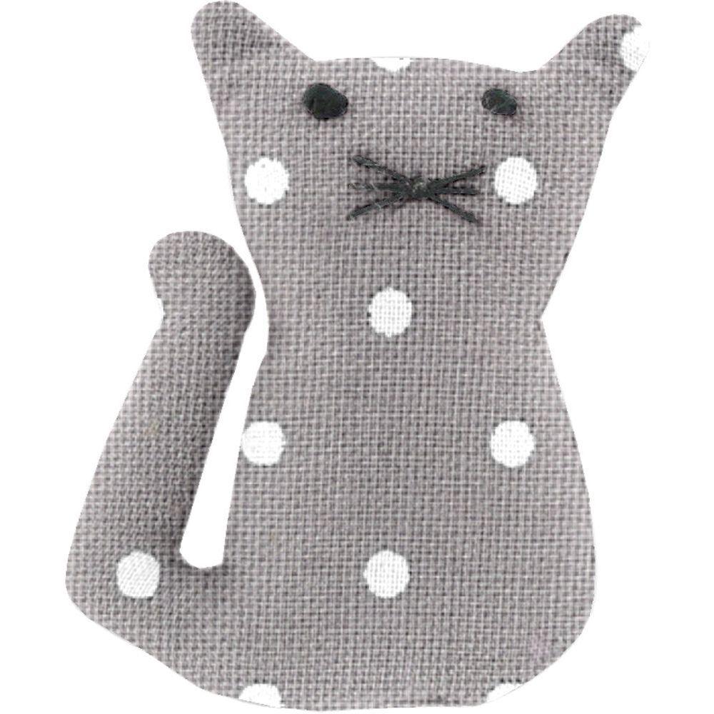 Pasador pequeño gato lunares gris