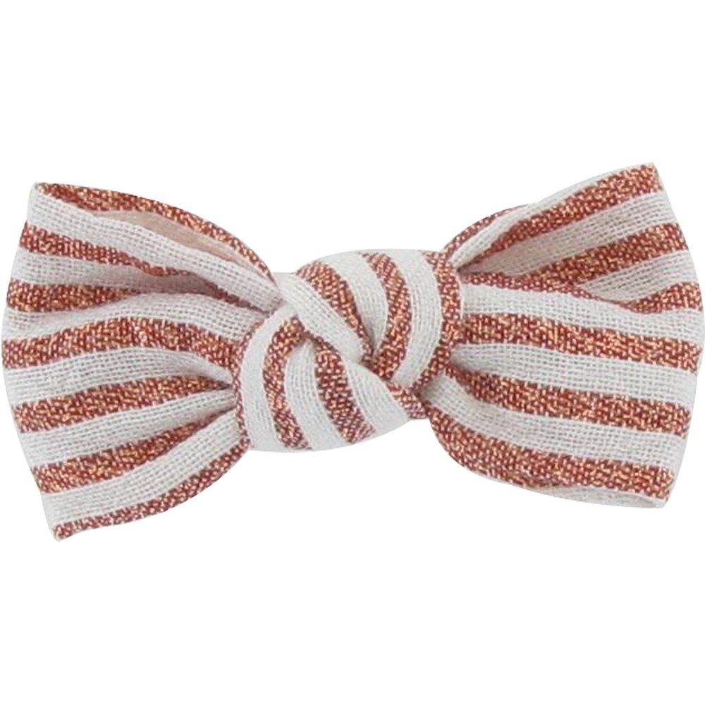 Barrette petit noeud rayures cuivrées