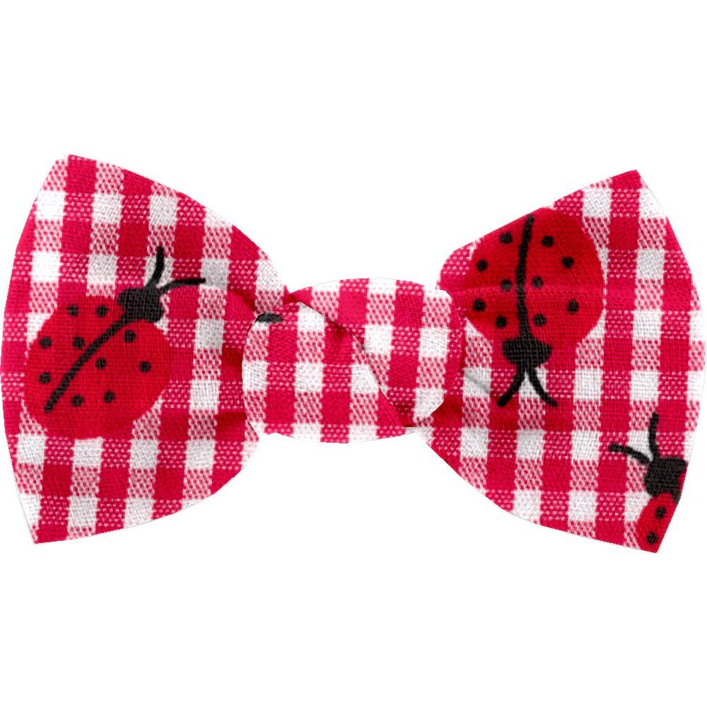 Small bow hair slide ladybird gingham
