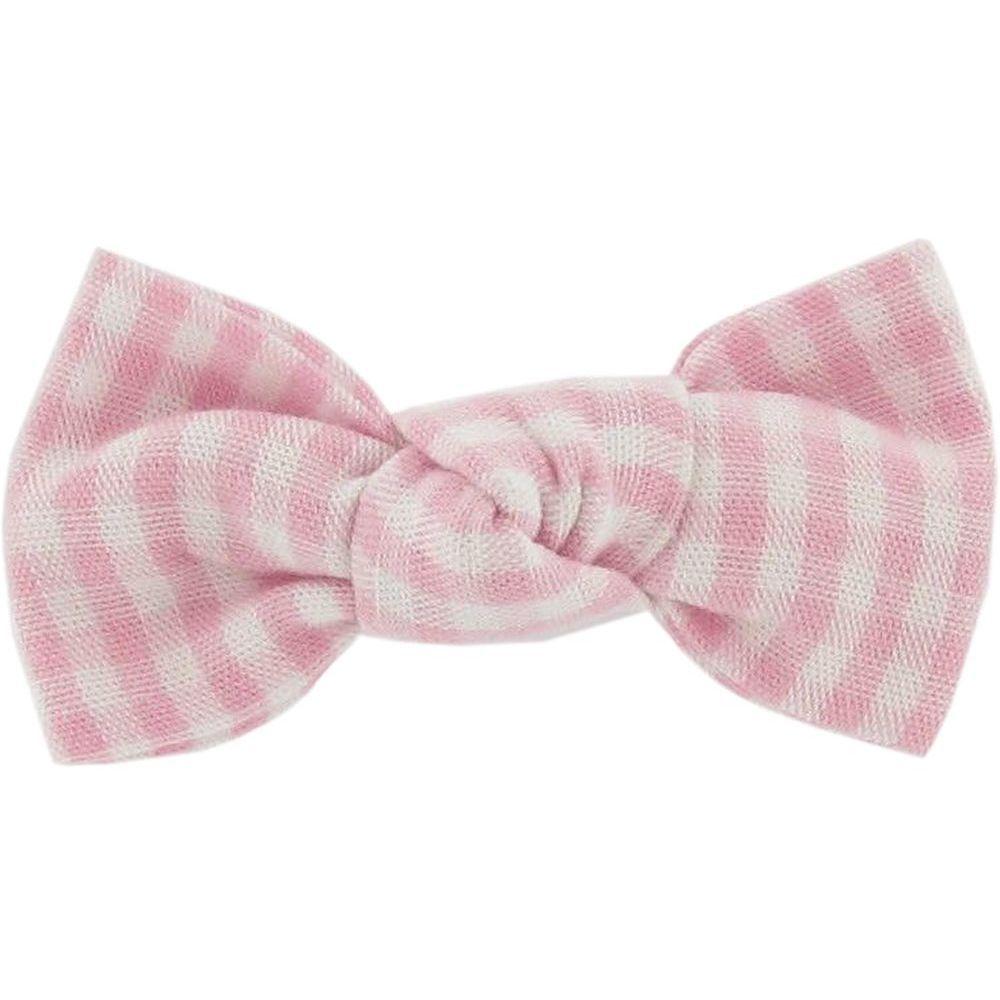 Pasador pequeño lazo cuadros vichy rosa