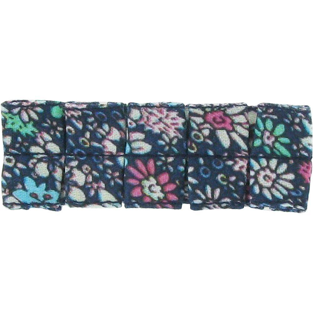 Petite barrette plissée milli fleurs vert azur