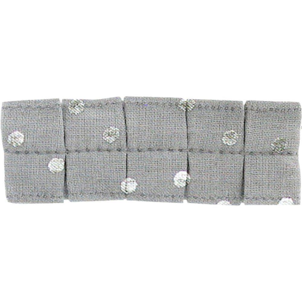 Petite barrette plissée  pois argent gris