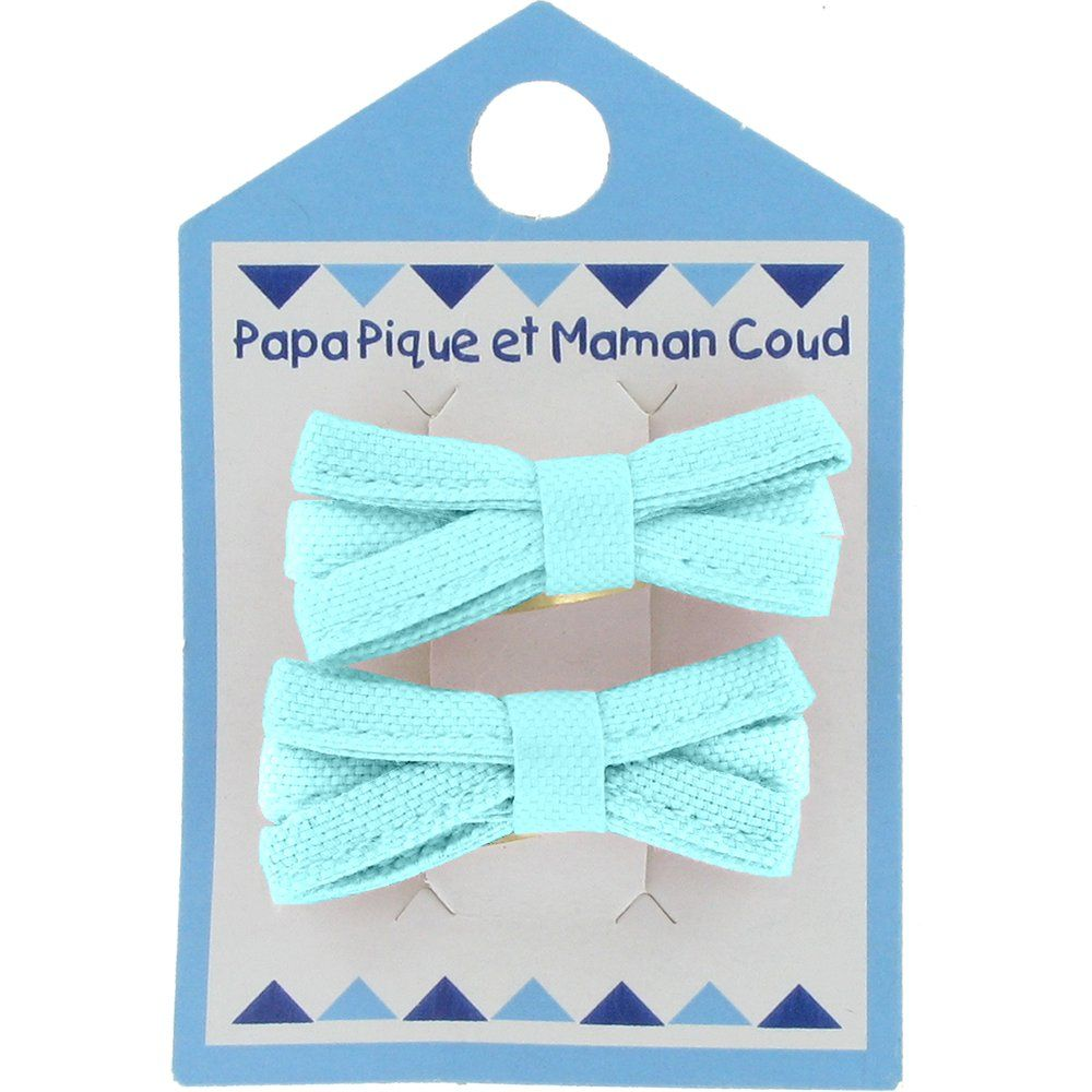 Small ribbons hair clips azur
