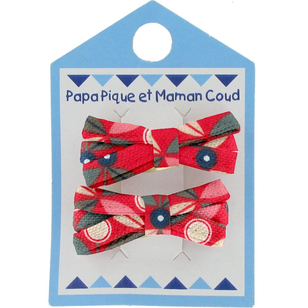 Barrette clic-clac mini ruban pétale paprika
