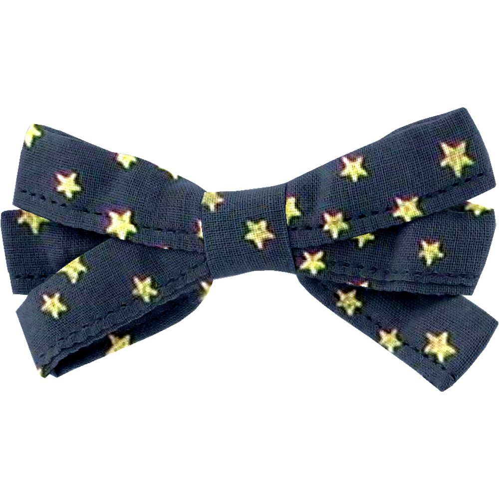 Ribbon bow hair slide navy gold star