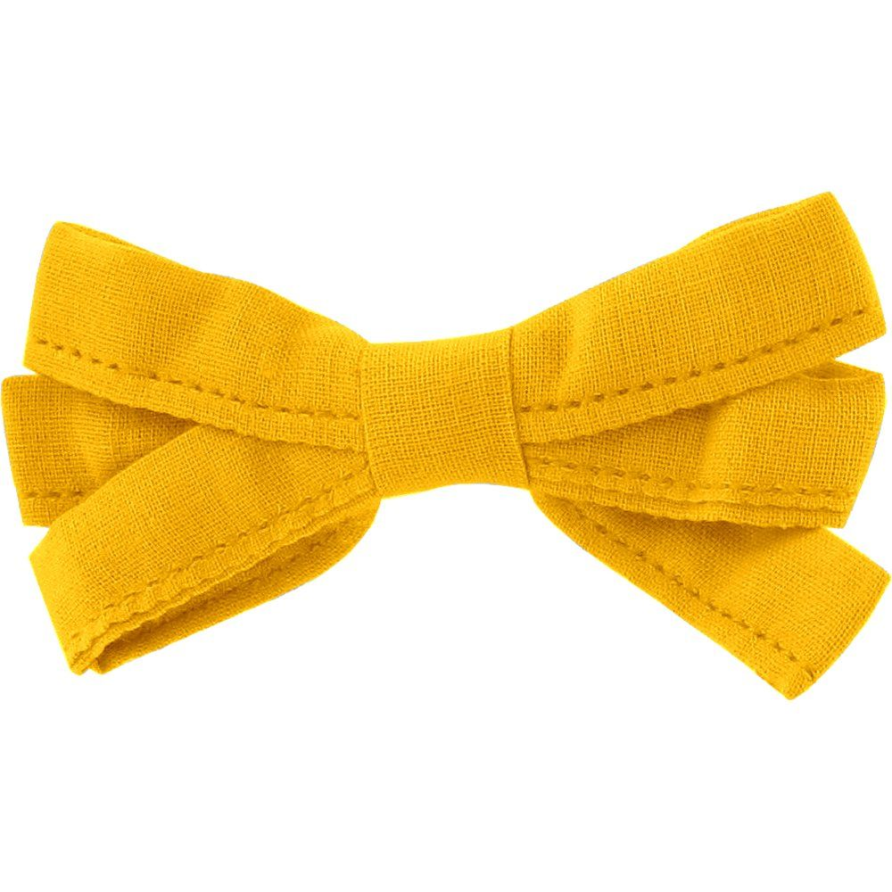 Barrette noeud ruban jaune ocre
