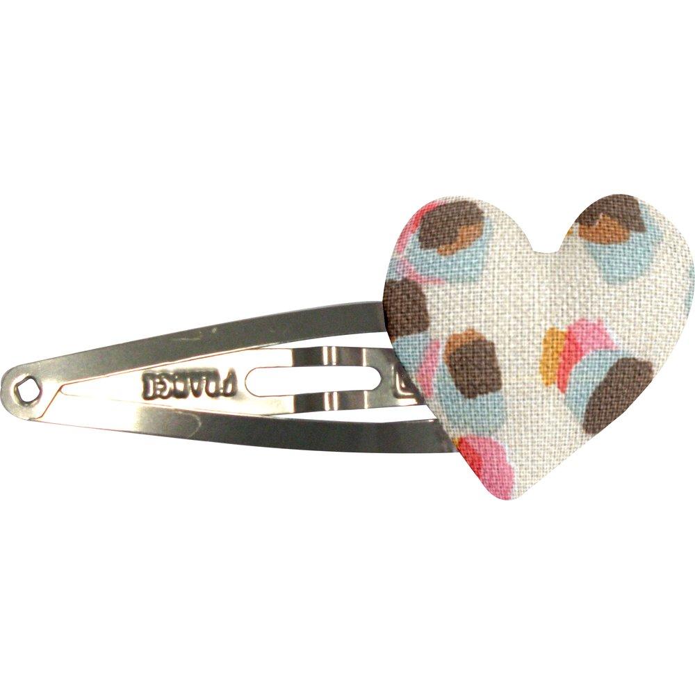 barrette clic-clac cœur confetti aqua