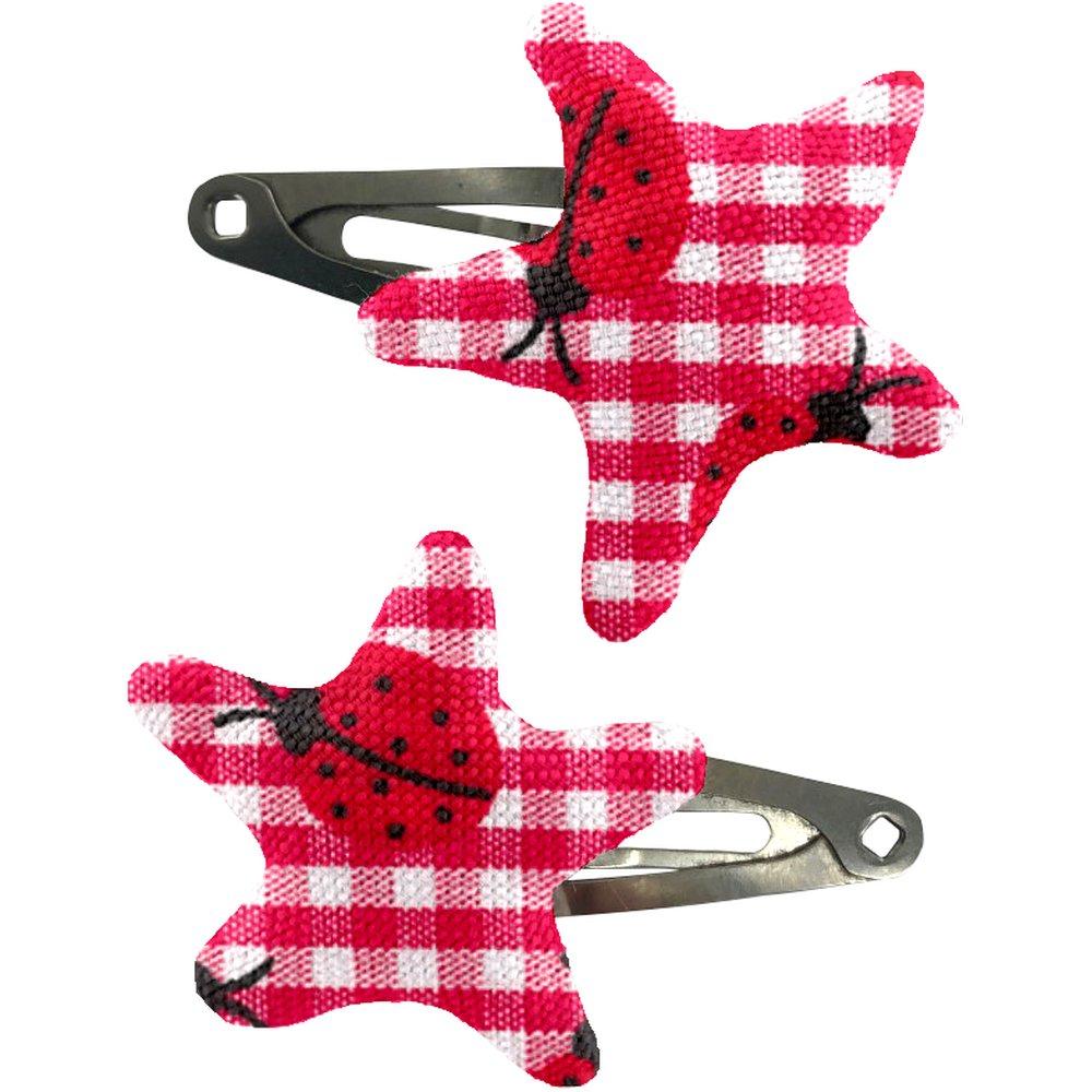 Barrettes clic-clac étoile vichy coccinelle