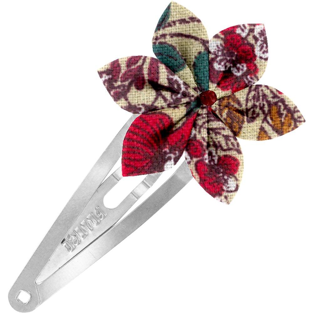 Barrette clic-clac fleur étoile coquelicot