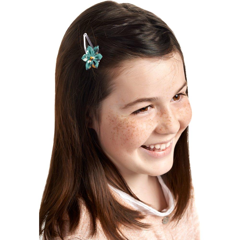 Barrette clic-clac fleur étoile panthère jade