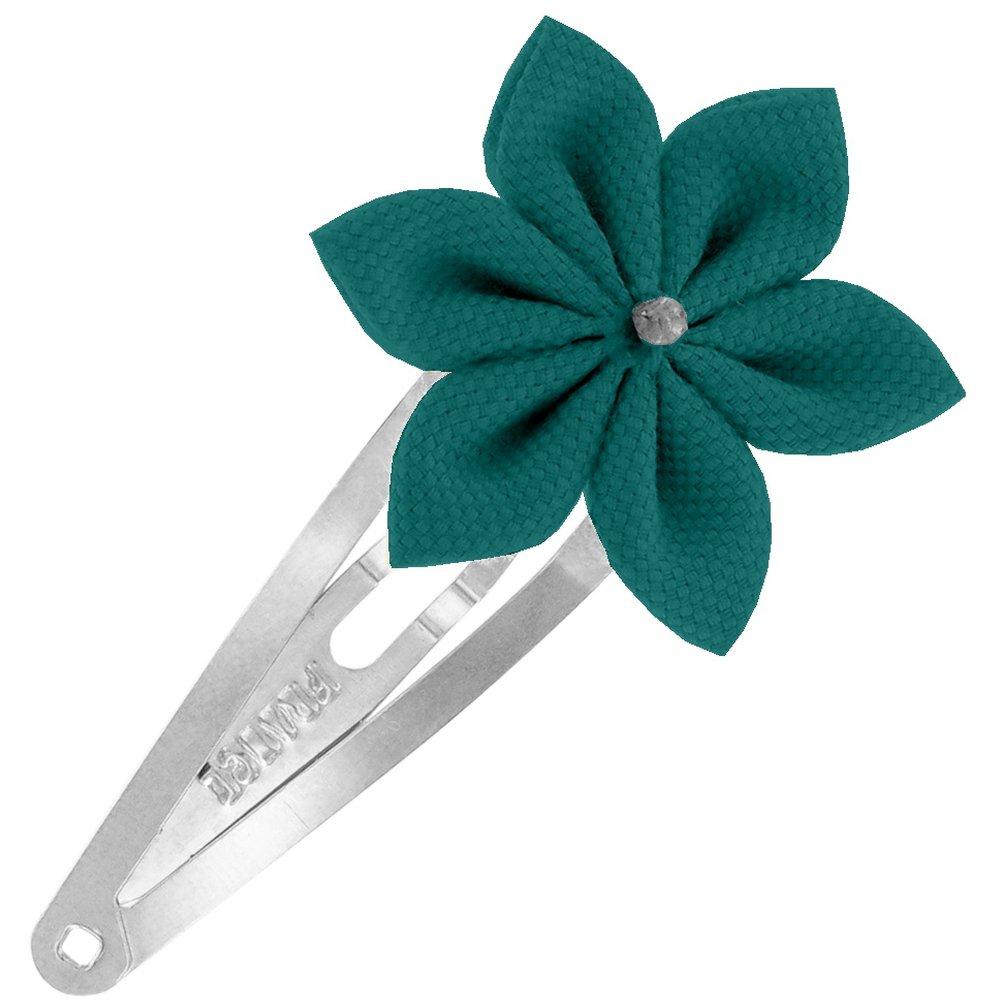 Barrette clic-clac fleur étoile  vert émeraude