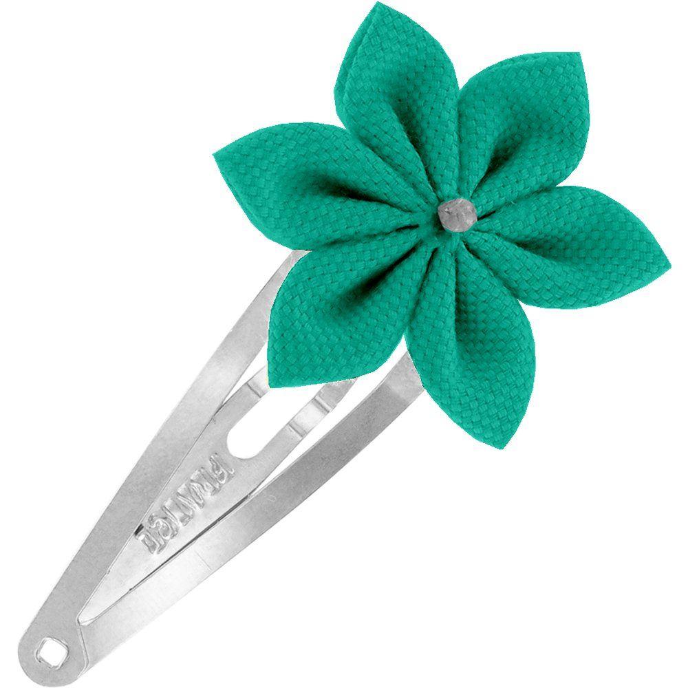 Star flower hairclip green laurel