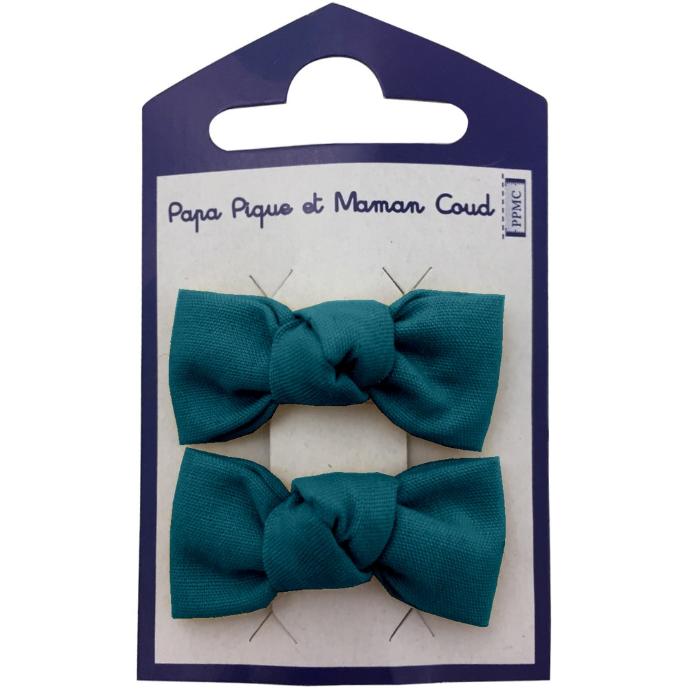 Barrettes clic-clac petits noeuds bleu vert