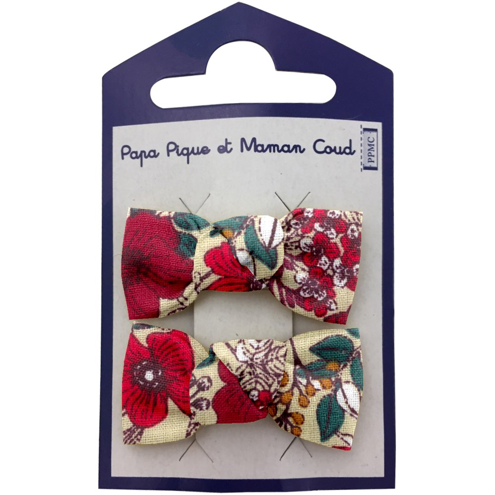 Small bows hair clips poppy