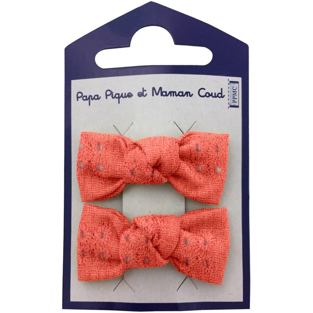 Small bows hair clips gaze dentelle corail