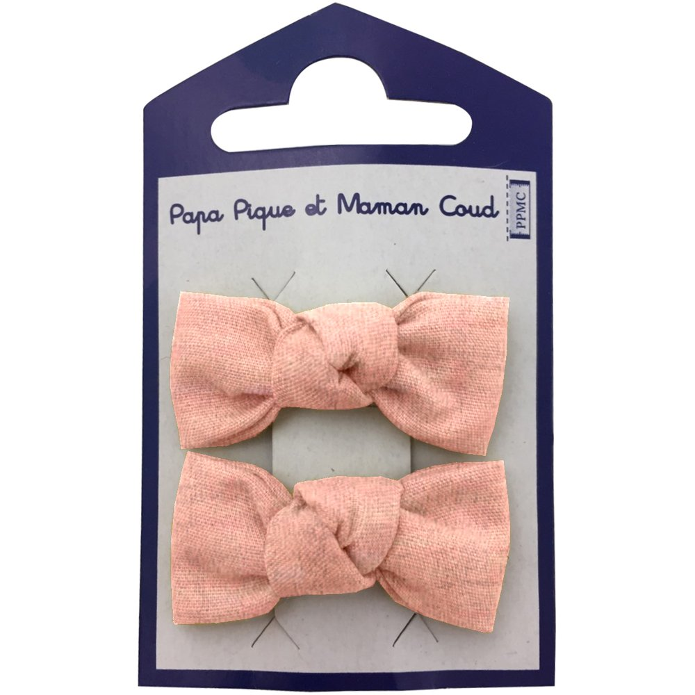 Small bows hair clips gauze pink
