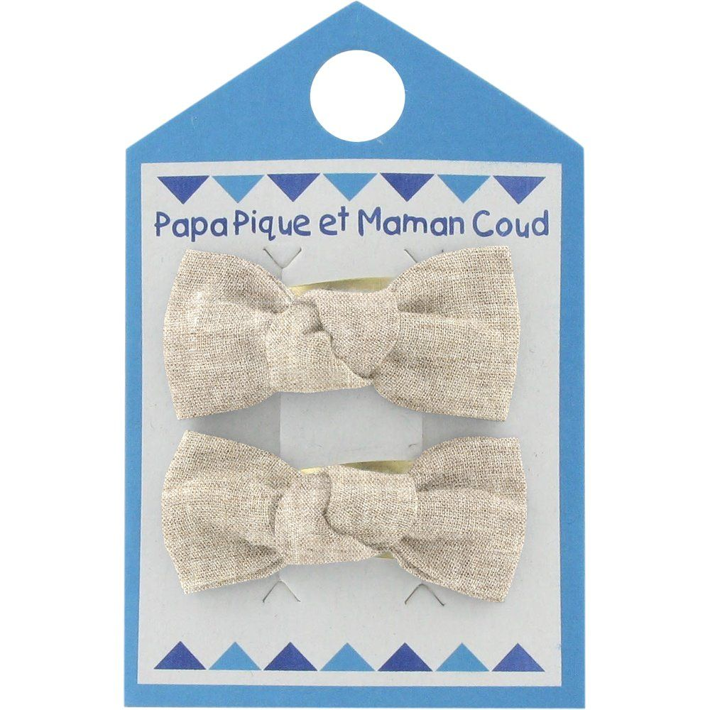 Small bows hair clips  glitter linen