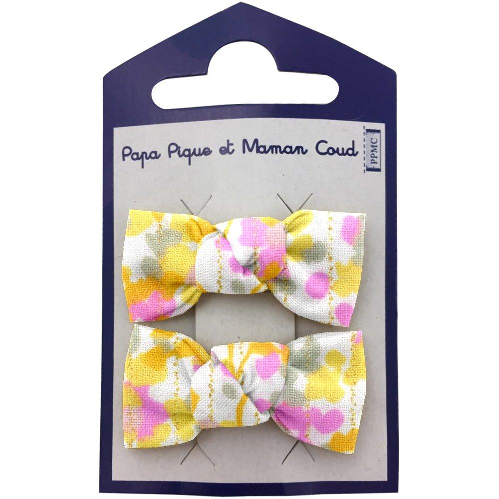 Small bows hair clips mimosa jaune rose