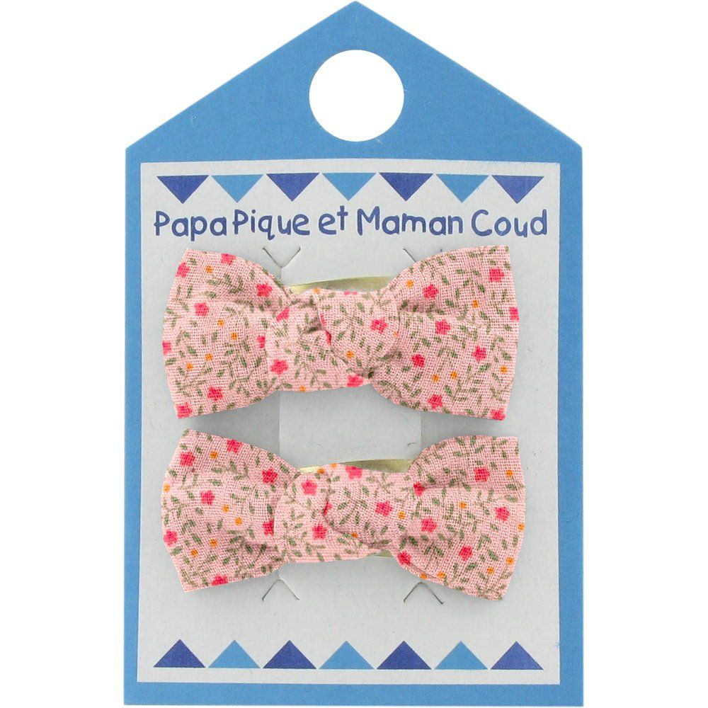Small bows hair clips mini pink flower