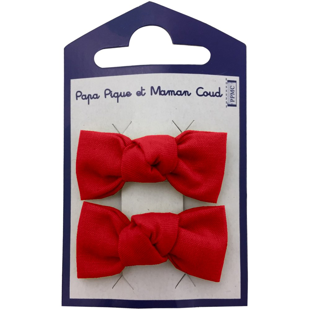 Small bows hair clips red
