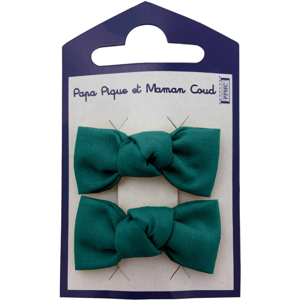 Small bows hair clips emerald green