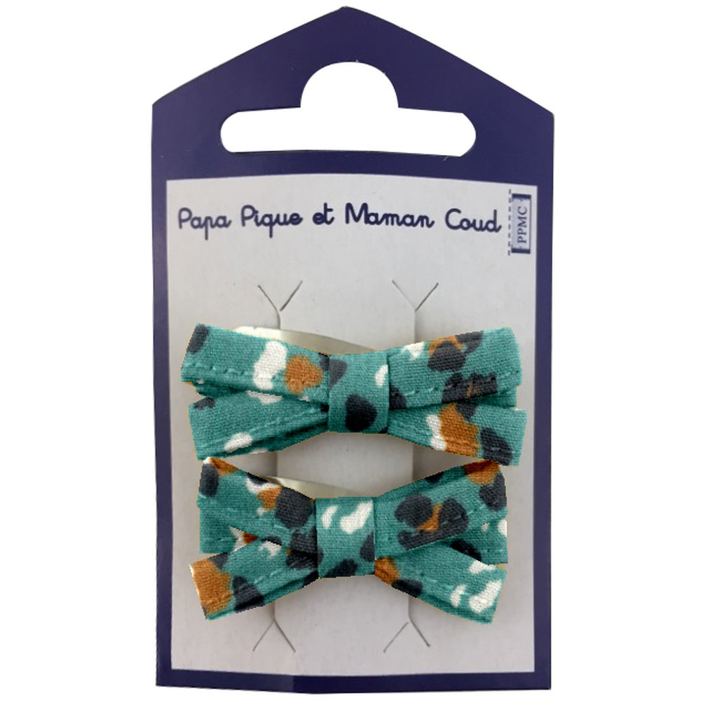 Small ribbons hair clips jade panther