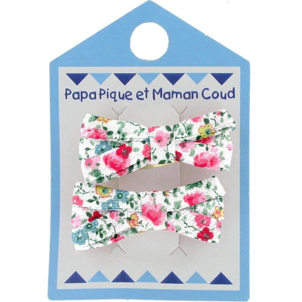 Barrette clic-clac mini ruban  roseraie