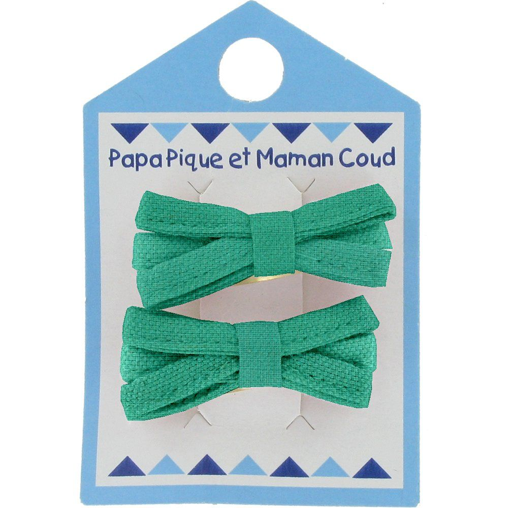 Barrette clic-clac mini ruban vert laurier