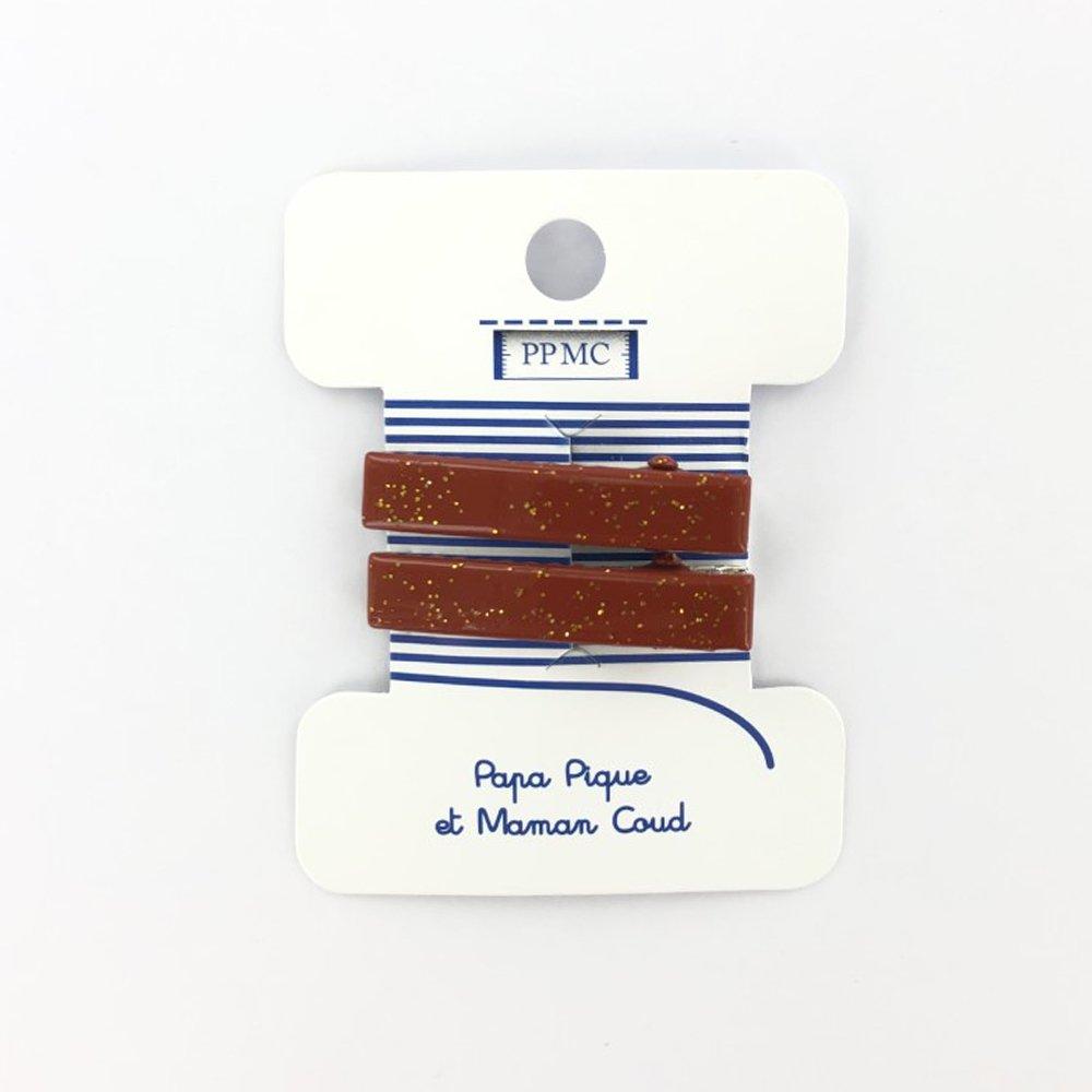 Petite barrette croco terracotta pailleté cr048