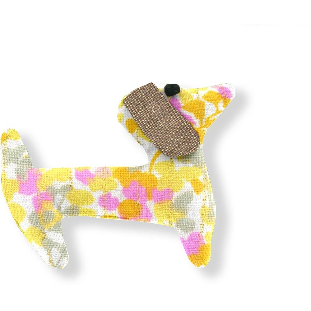 Basset hound hair clip mimosa jaune rose