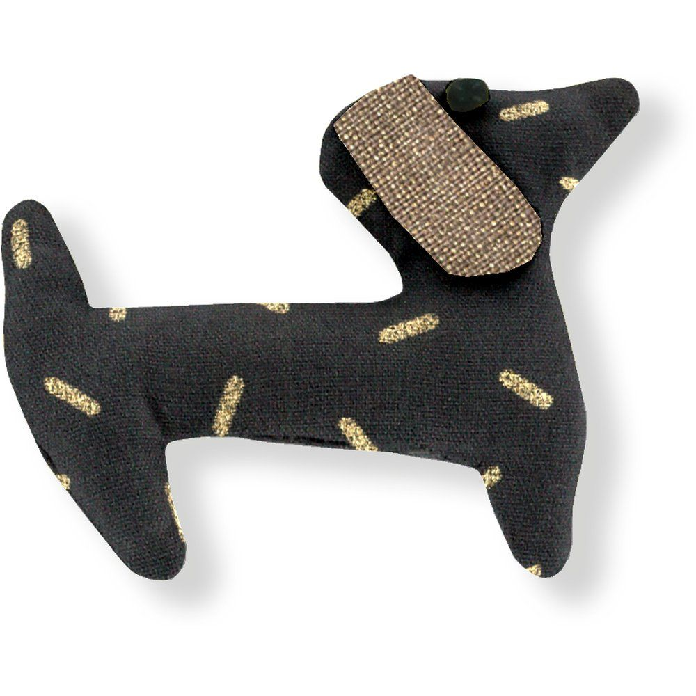 Pasador de pelo en forma de perro paja dorada