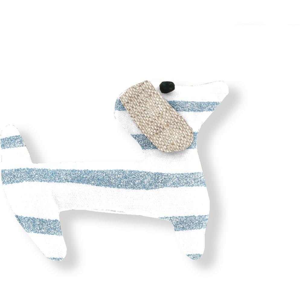 Basset hound hair clip striped blue gray glitter
