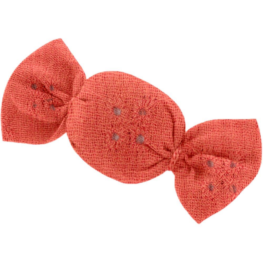 Petite barrette mini bonbon gaze dentelle corail
