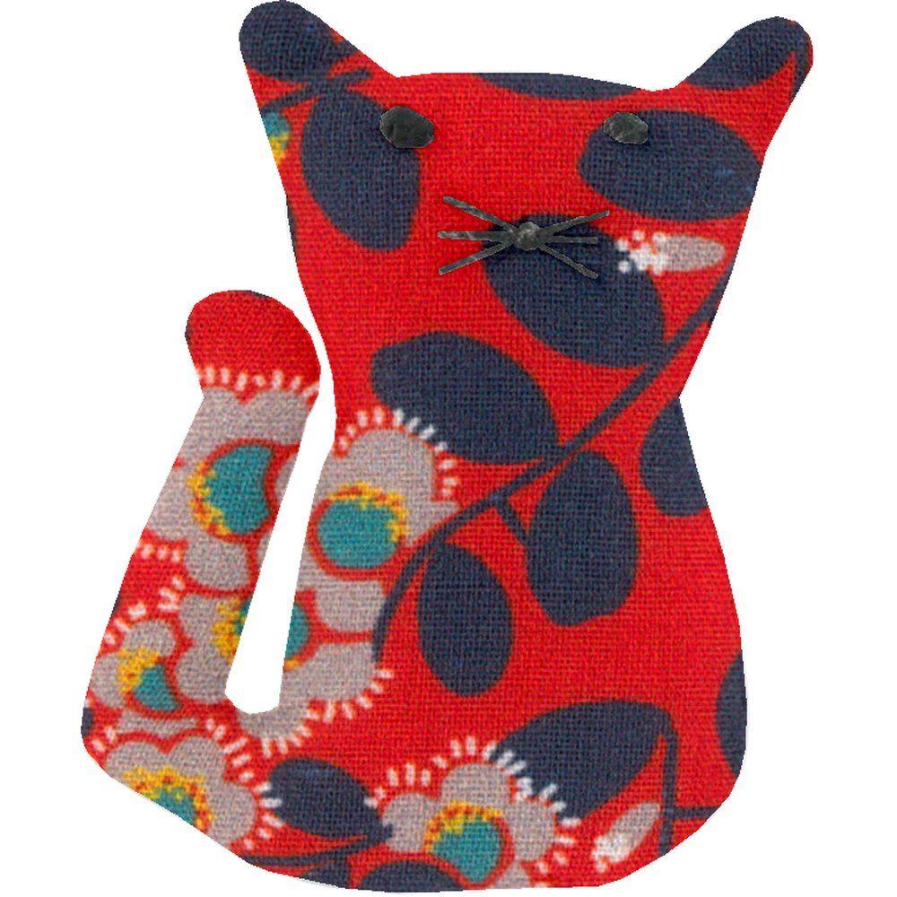 Petite barrette chat feuillage vermillon
