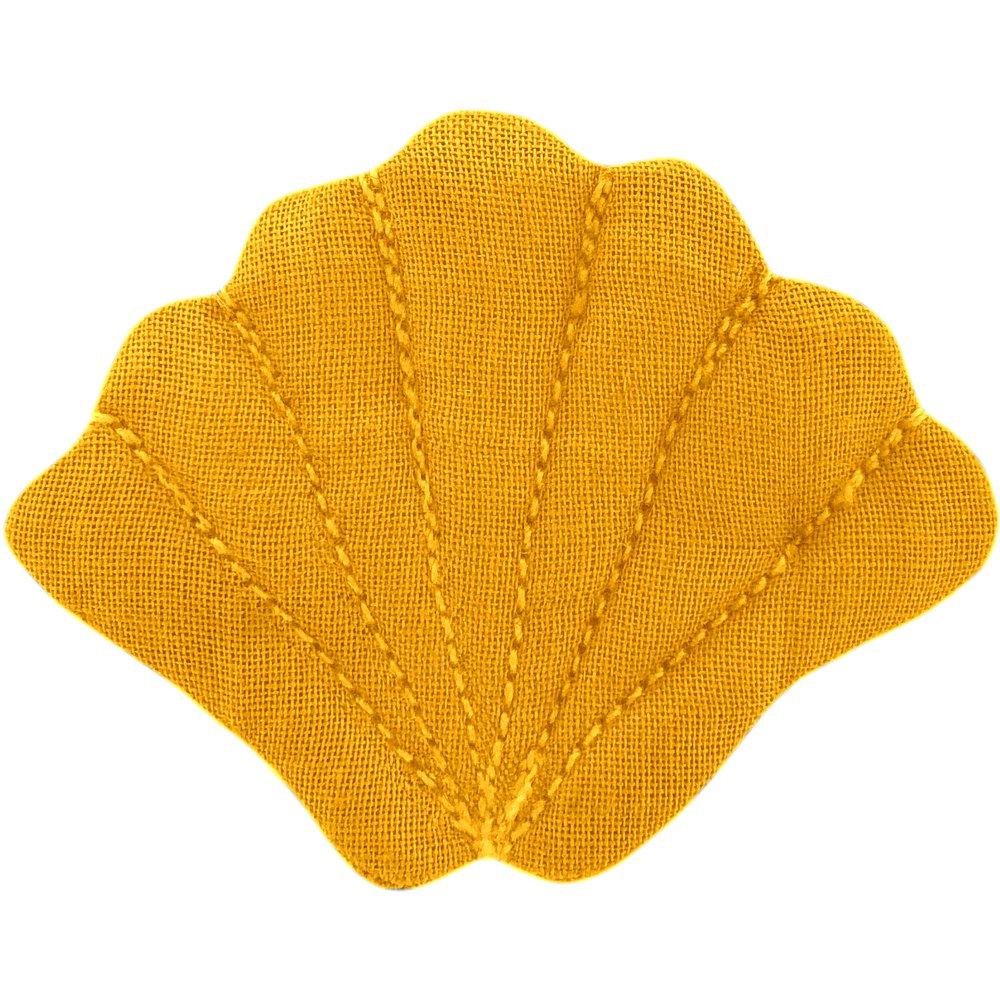 Barrette coquillage jaune ocre