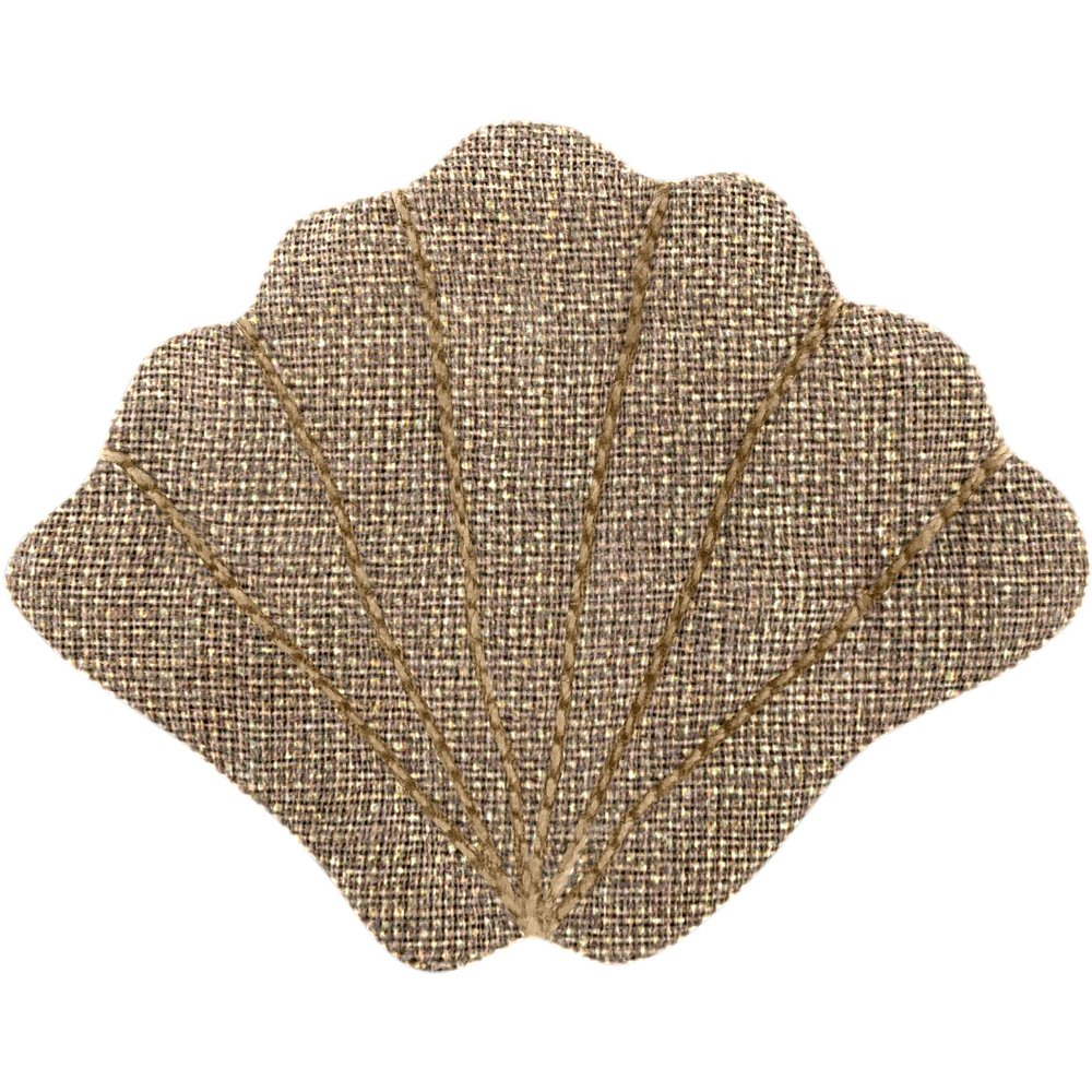 Barrette coquillage lin or