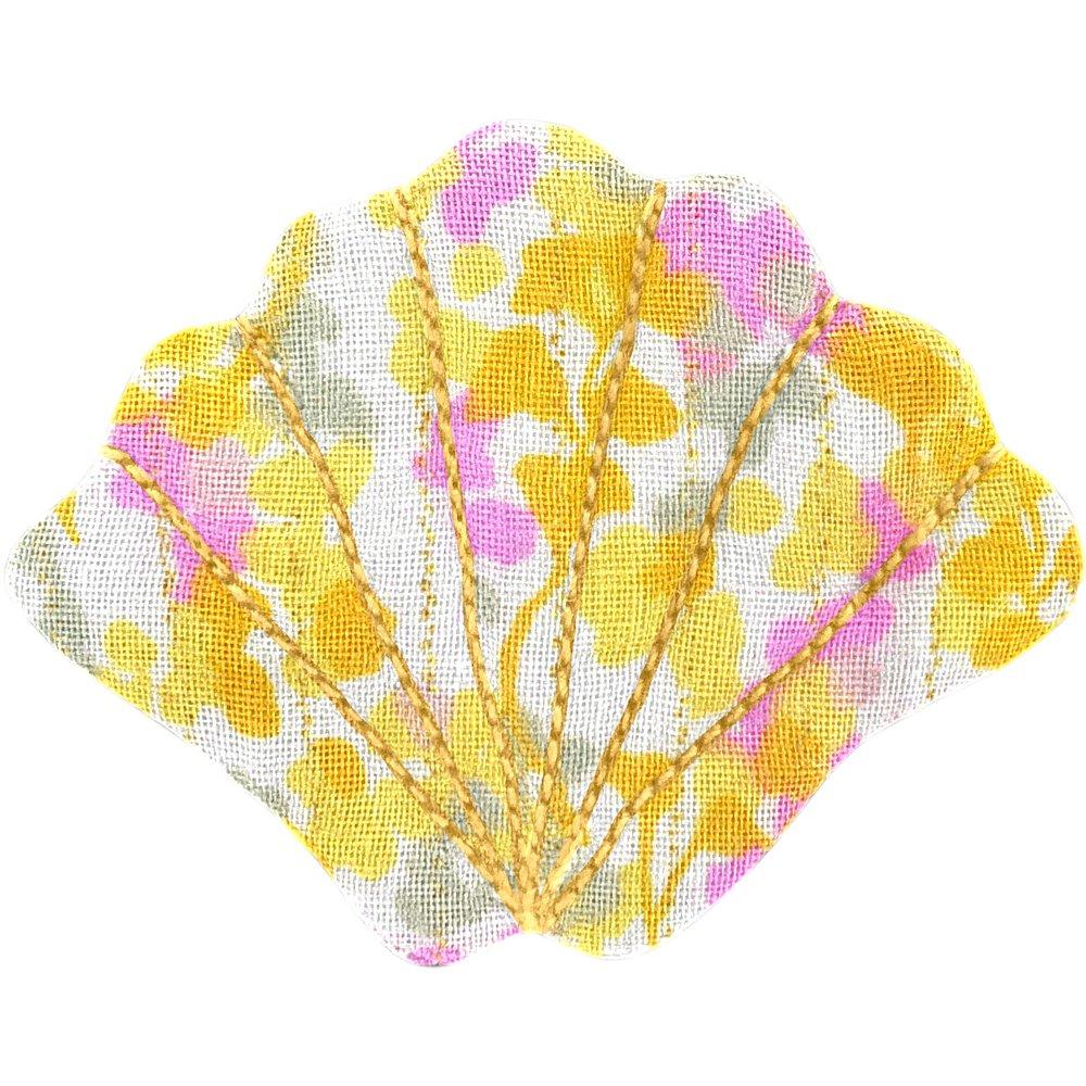 Barrette coquillage mimosa jaune rose