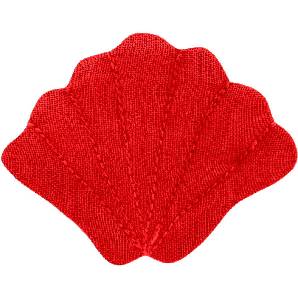 Shell hair-clips tangerine red