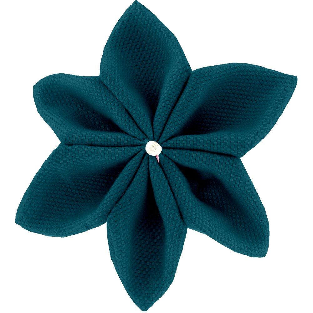 Barrette fleur étoile 4 bleu vert
