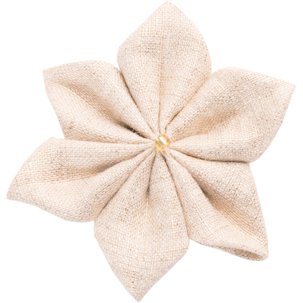 Pasador flor estrella lino brillo