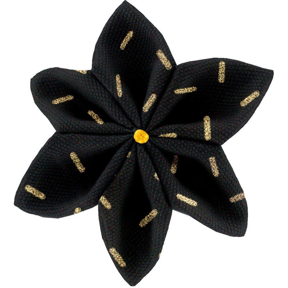 Barrette fleur étoile 4  paille dorée noir