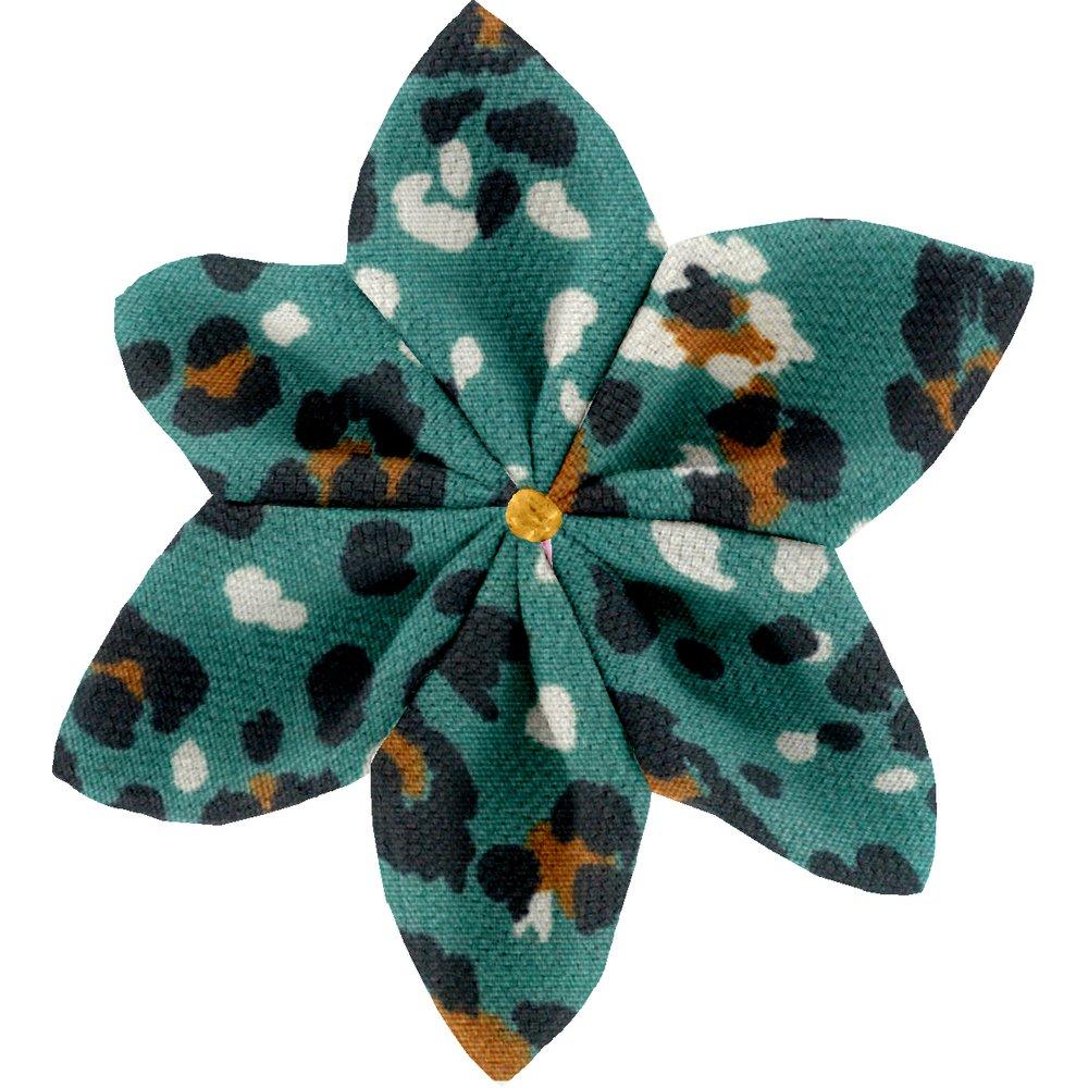 Barrette fleur étoile 4 panthère jade