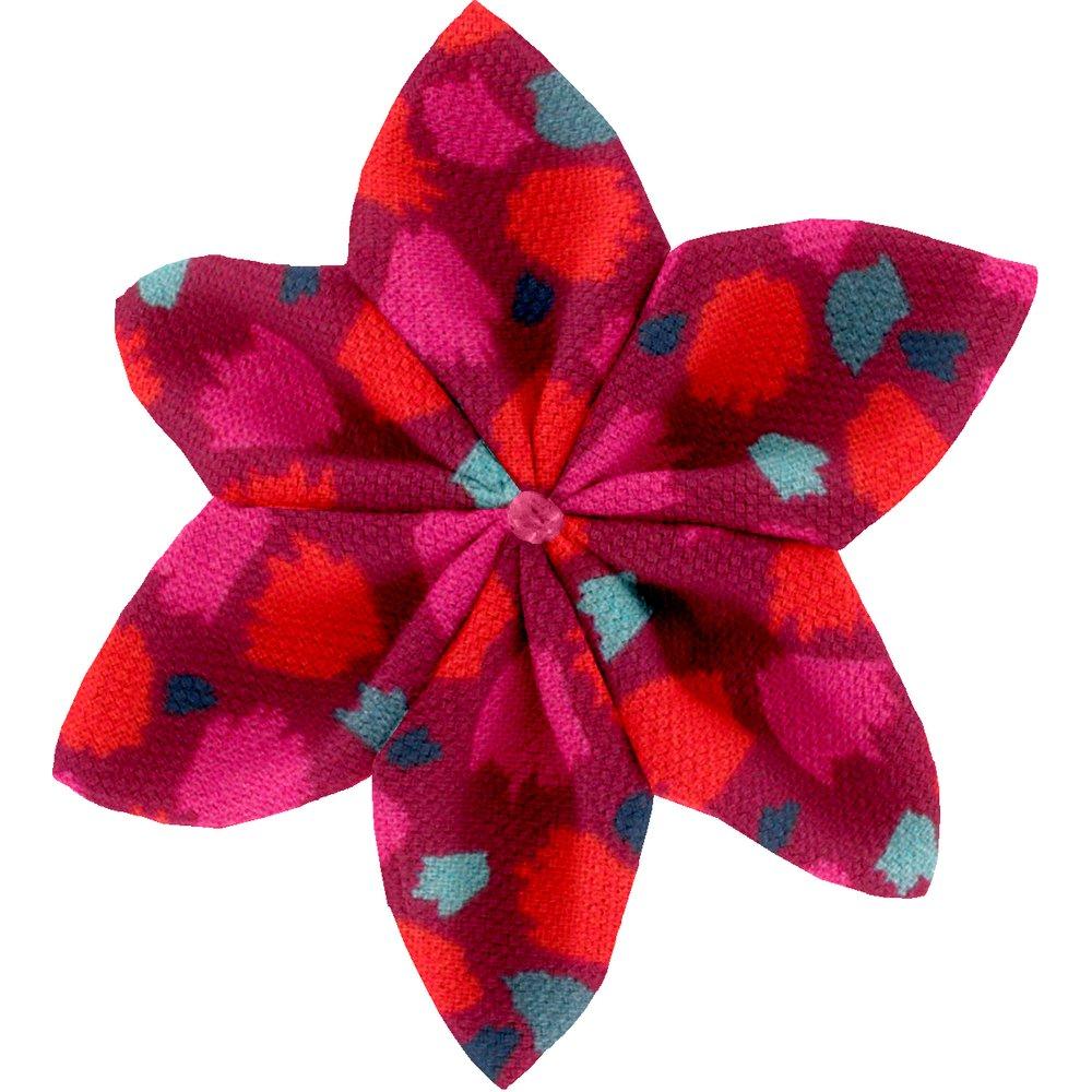 Star flower 4 hairslide pompons cerise