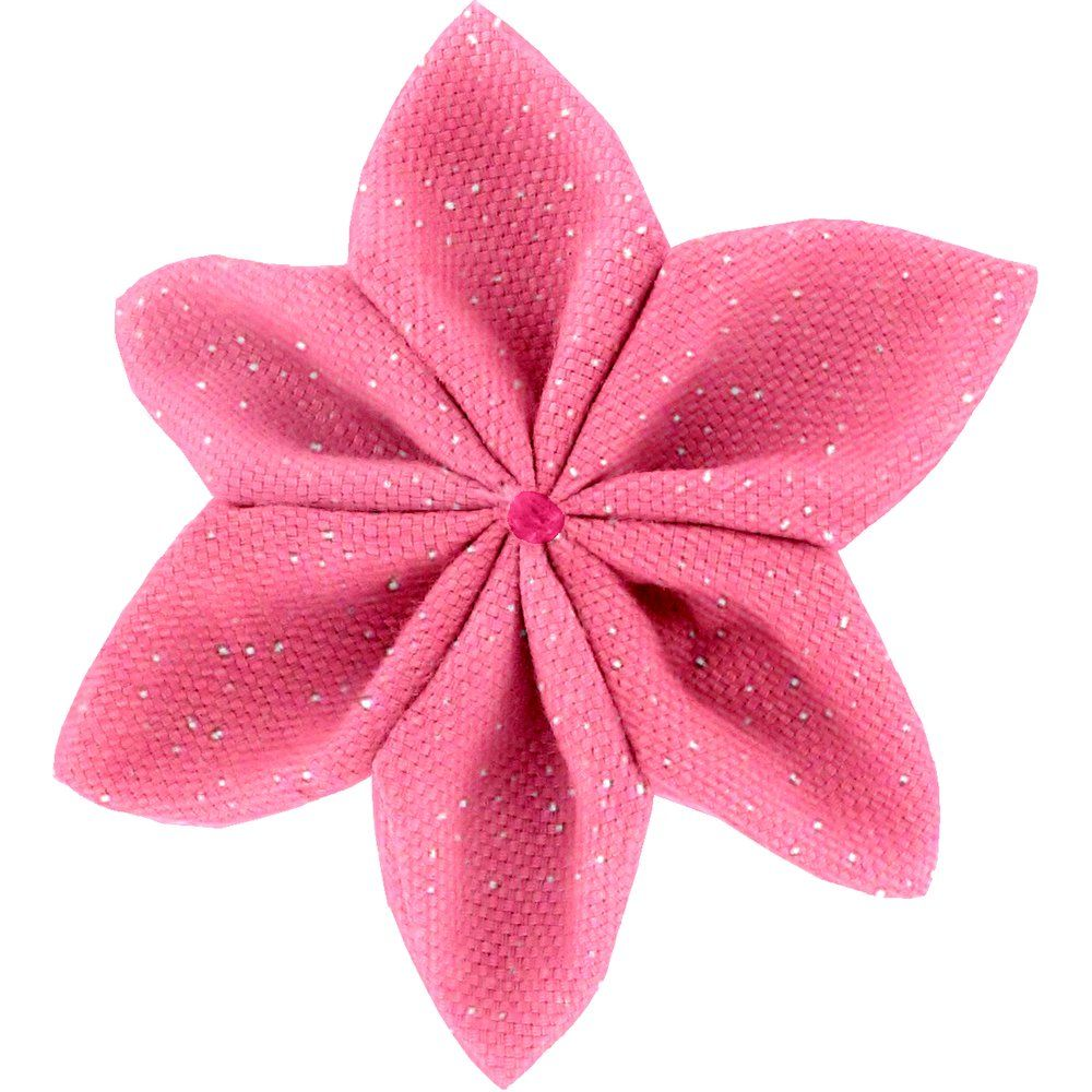 Star flower 4 hairslide rose pailleté
